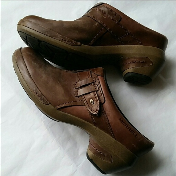 Merrell Clogs Luxe Plunge Brown Comfort Leather Casual Mules Slide Womens Us 7.5 Women's Shoes